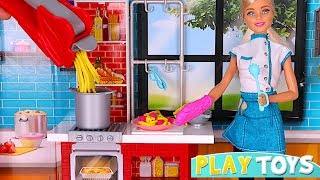 Barbie doll kitchen toys - Playing BARBIE CHEF cooking pasta toy food  & Barbie doll morning routine