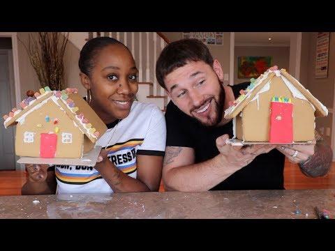 HUSBAND VS WIFE GINGERBREAD HOUSE CHALLENGE - VLOGMAS DAY 4