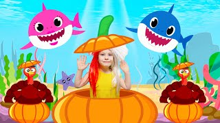 Baby Shark Thanksgiving song for kids Turkey day by KybiBybi