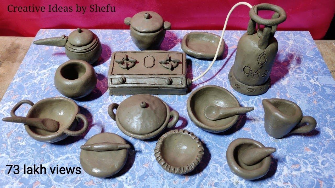 Download Amazing technique make handmade kitchen set with clay || miniature clay kitchen set || kitchen tools