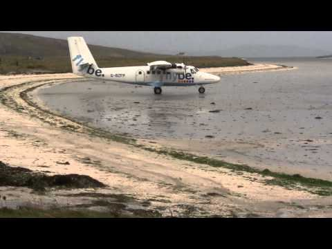 Loganair Twin Otter take off at Barra
