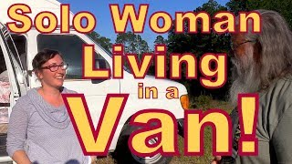 Solo Woman Living in a  Hightop Ford Van
