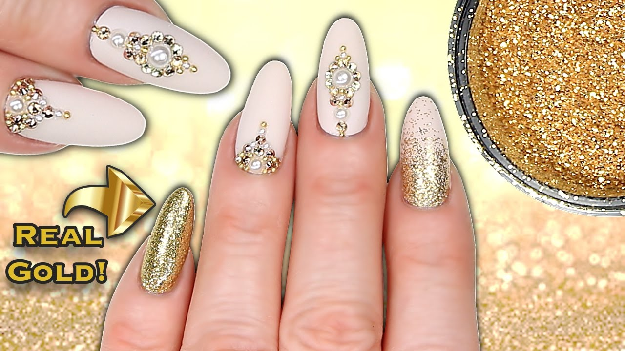 Real 24ct gold nails luxe matte nude gold glitter crystal real 24ct gold nails luxe matte nude gold glitter crystal pearl nail art youtube prinsesfo Image collections