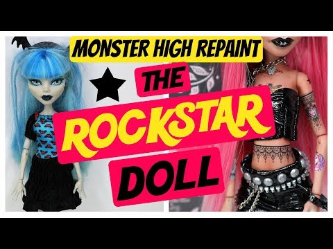 PUNK ROCK STAR / MONSTER HIGH DOLL REPAINT / HOW TO MAKE CUSTOMIZED DOLLS / DRAWING #art #tutorial