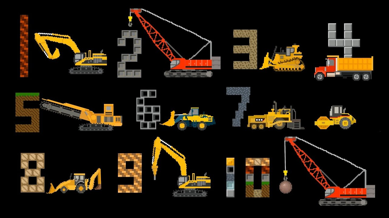 Construction Vehicles Counting Count To Ten With Trucks
