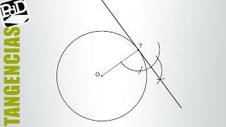 Recta tangente a una circunferencia conocido el punto T de tangencia (Tangencias)