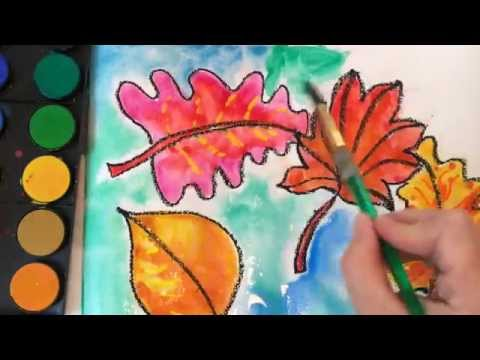Easy Watercolor Resist Fall Leaves Art Project For Kids