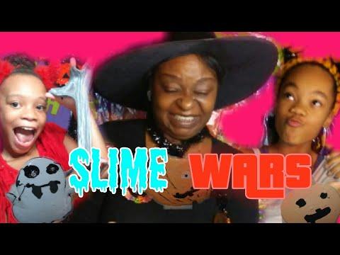 Slime WARS Halloween Edition ~ Moran Twins ft. Mom~