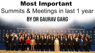 All the Summits and Conferences in Last 1 year with Venue & Themes - Current affairs 2019 by Dr GG