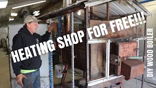 How We Heat The Shop For Free | DIY Outdoor Wood Boiler Unit