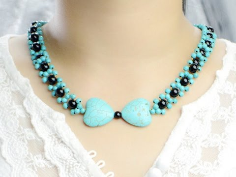Easy jewelry tutorial make turquoise bead pendant necklace youtube aloadofball