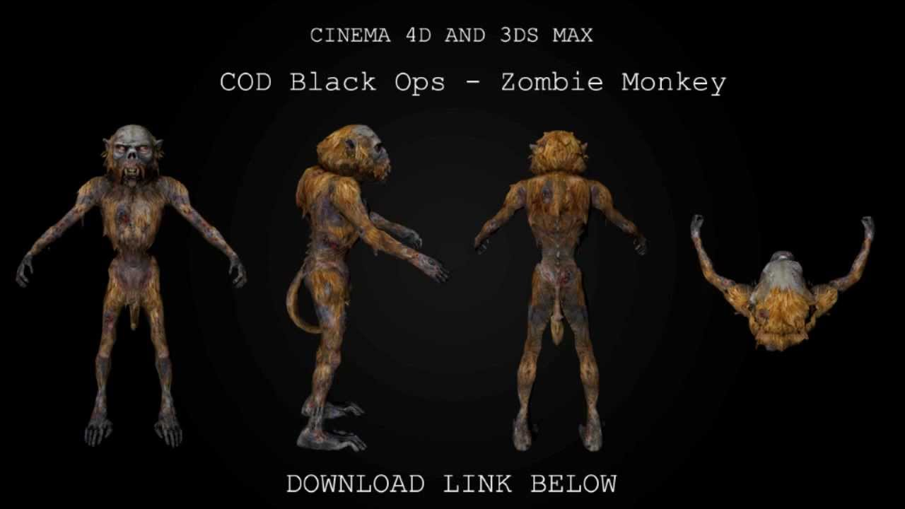 Cinema 4D/ 3DS Max | Black Ops Zombie Monkey 3D Model (Free Download)