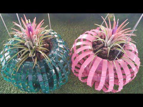 DIY ทำกระถางต้นไม้จากขวดพลาสติก Ep.2 (แบบแขวน)| Diy flower pots from recycled plastic