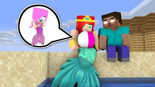 Monster School : MERMAID & HEROBRINE BABY LIFE - Minecraft Animation