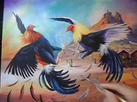 Como pintar Gallos peleando por oscar zepeda  YouTube