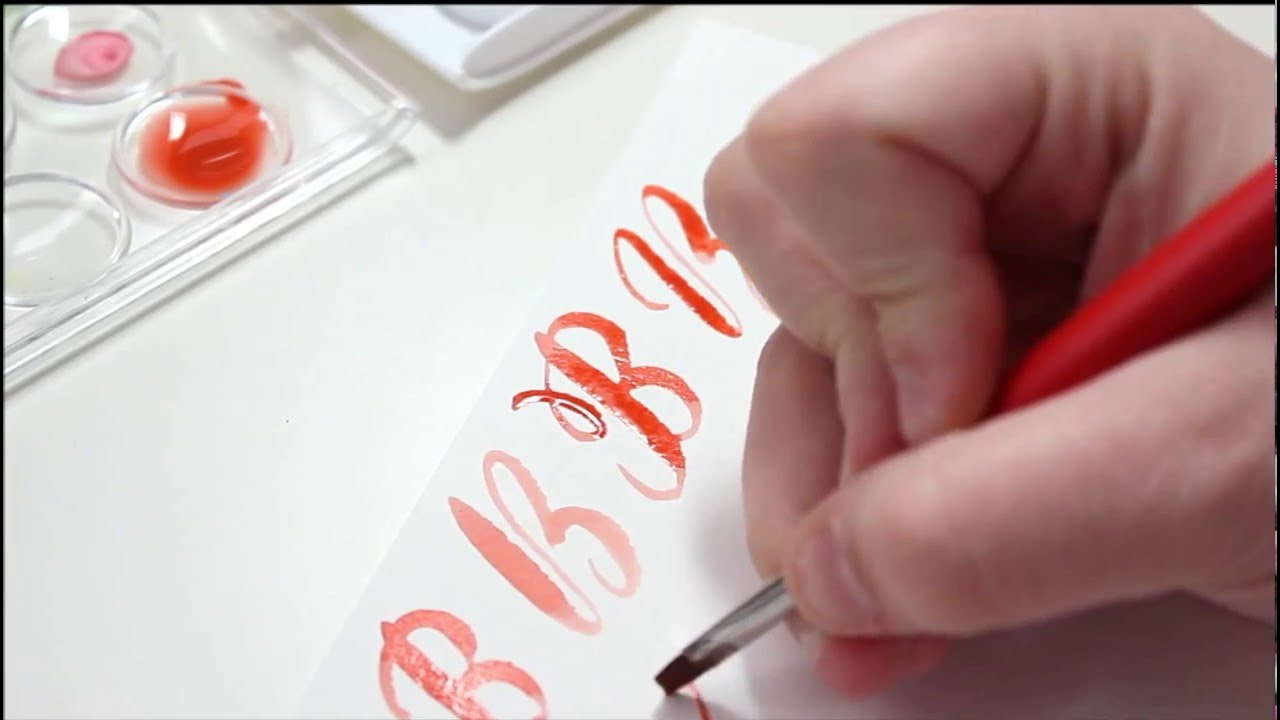 Watercolor brush calligraphy letter b youtube