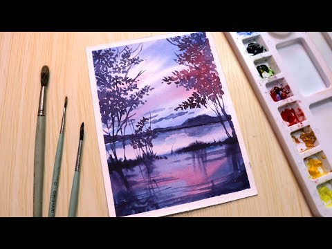 Watercolor painting for beginners landscape easy