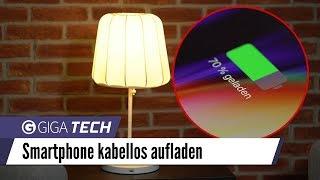 iPhone 8, X und Samsung Galaxy S8 kabellos laden mit IKEA VARV Nachttischlampe - GIGA.DE