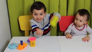 children play with modeling clay, kids boys