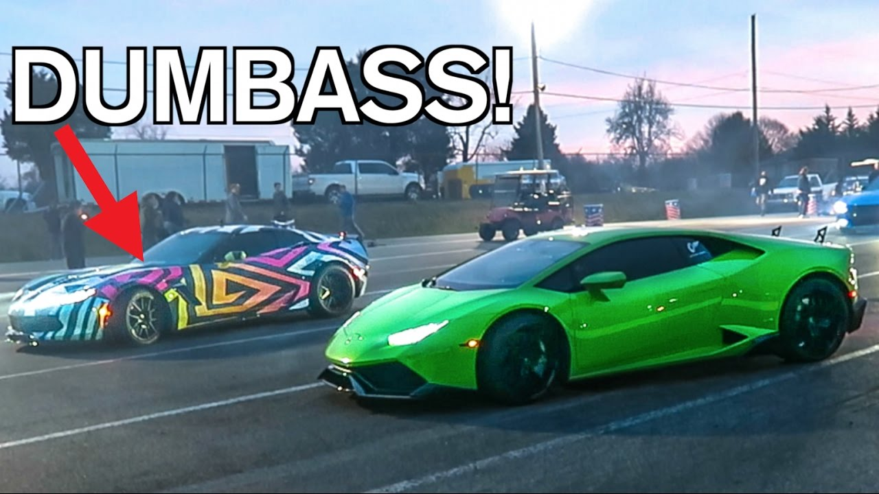 Cocky Corvette Gets Destroyed By A Stock Lamborghini Lol