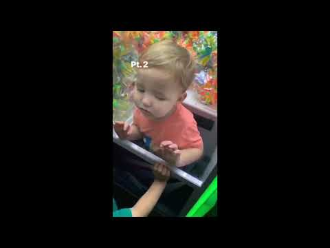 Lori Bradley - Two year old wants a toy in the claw machine.  What could go wrong?