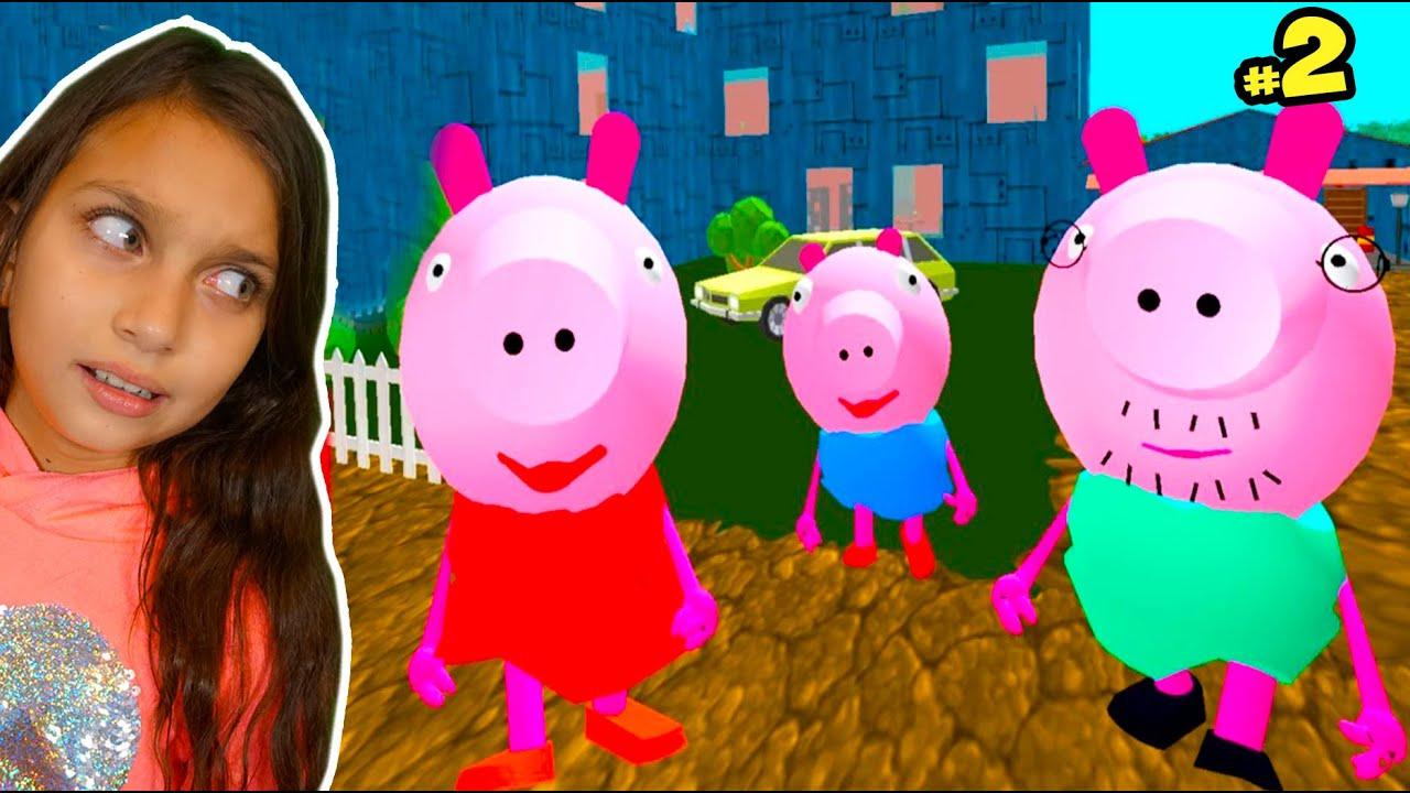 СЕМЕЙКА ПИГГИ #2! Piggy Neighbor! Свинка Пеппа и семейка ДЕЛАЮ КОНЦОВКУ против Прохождение Валеришка