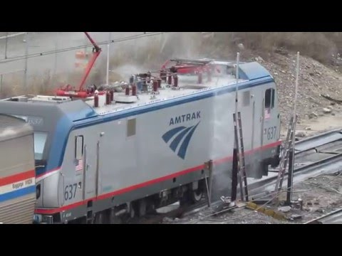 Amtrak #637 & Train 98 at the Sunnyside Car Washer