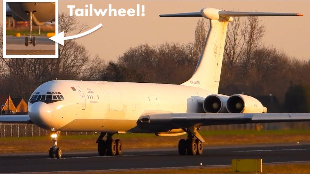 ILYUSHIN IL-62 Fantastic SUNSET LANDING great SOUND & Tailwheel Action