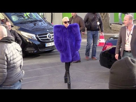 EXCLUSIVE - The always colorful Lady Gaga arriving at the Grand Palais in Paris