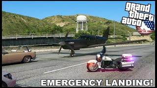 GTA 5 ROLEPLAY - EMERGENCY LANDING ON HIGHWAY! - BIKE PATROL - EP. 984 - AFG -  LEO