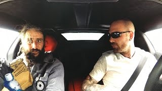 Lamborghini owner picks up a homeless man