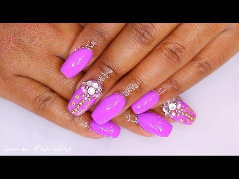 Purple Acrylic Nails With Rhinestones Crystals Queenii Rozenblad
