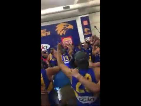 West Coast in the changerooms after winning the 2018 flag