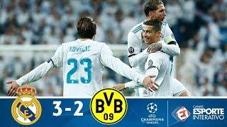 Melhores Momentos - Real Madrid 3 x 2 Borussia Dortmund - Champions League (06/12/2017)