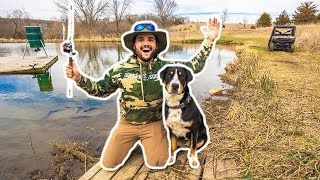 Fishing My BACKYARD Pond GONE WRONG!!! (Puppy Had To Be RESCUED)