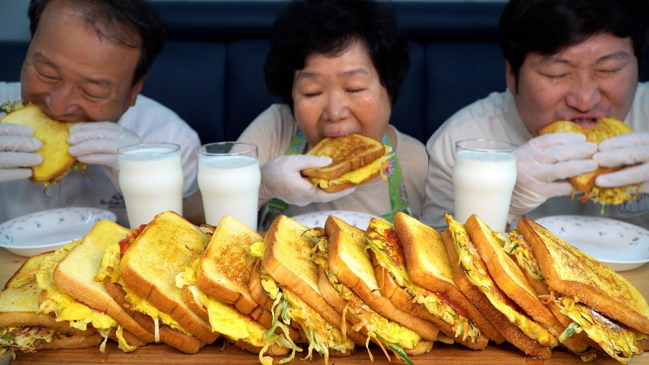 Ev yapımı Kore usulü tost - Mukbang yemek programı.
