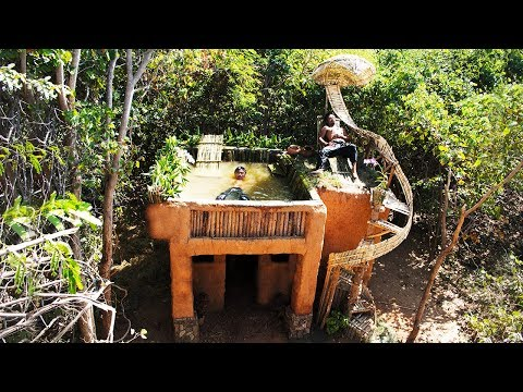 Build mud house and swimming pool in the forest | Primitive Technology , Building Skill ( Full )