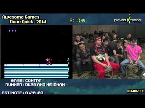 Contra NES :: Live 2-player SPEED RUN Ft. DK28 And Heidrage #AGDQ 2014