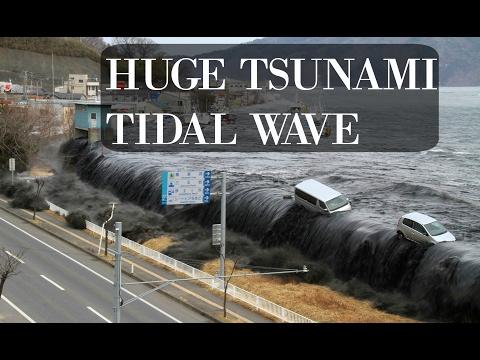 MEGA TSUNAMI - huge tidal wave spills inland HD (japan tsunami)