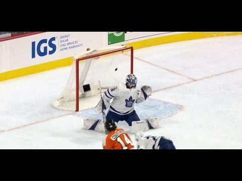 Giroux's no-look between the legs pass sets up Flyers late goal against Maple Leafs