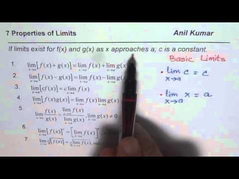 7 Properties of Limits and the Basic Limits Understanding