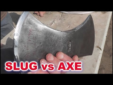 Splitting 12ga Shotgun Slugs with an AXE