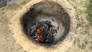 underground cooking pit -المهندس الفلسطيني خالد بشير. اطبخ طعامك في حفرة تحت الأرض