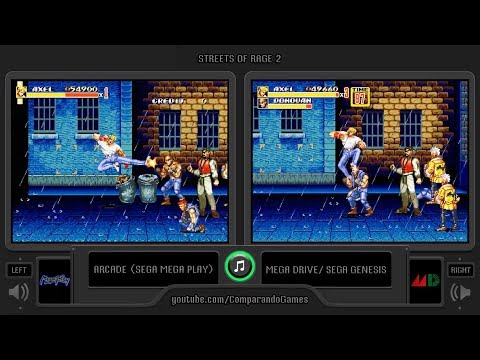 Streets of Rage 2 (Arcade vs Sega Genesis) Side by Side Comparison