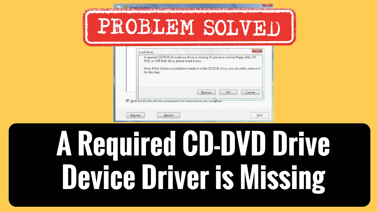 Fix A required cd-dvd drive device driver is missing - YouTube
