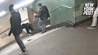 Drunk hooligan viciously kicks woman down subway stairs | New York Post