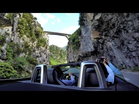 Audi TT Roadster Quattro. Fast Driving to Cote Azur. The Amazing Roya Valley, France