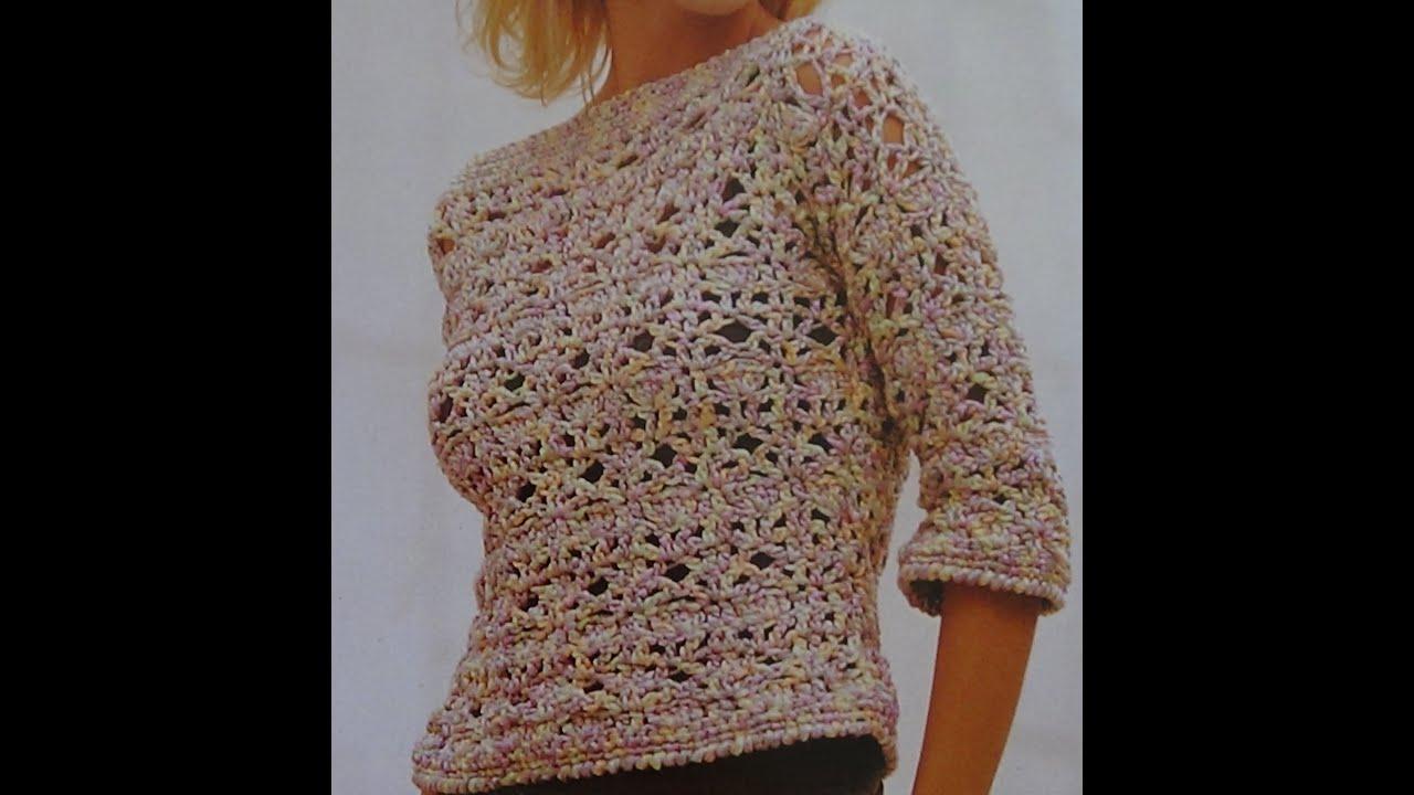 Como hacer jersey calado a crochet youtube - Como hacer un jersey de punto ...