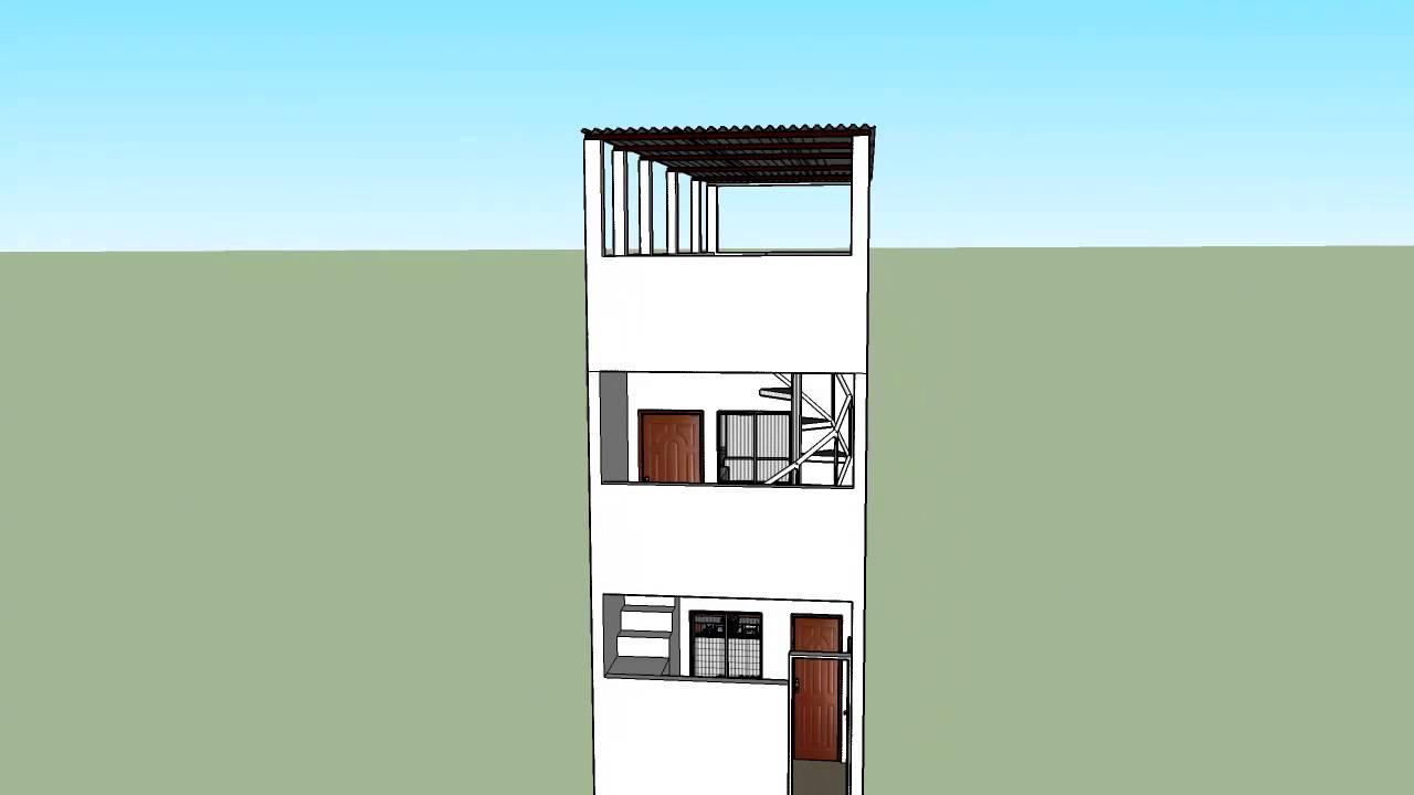 Sketchup projeto de 2 quitinetes 4x12 metros youtube - Casas estrechas y largas ...