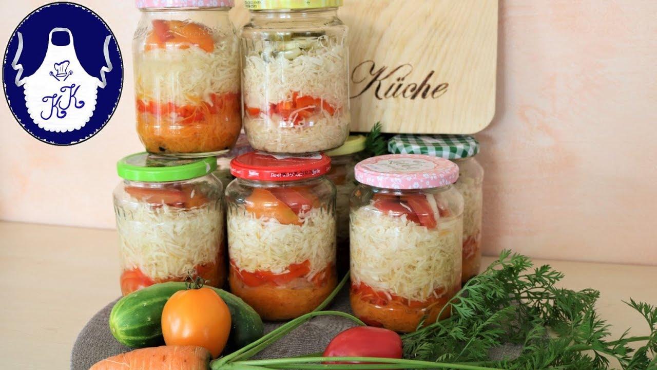 Gemüse - Schichtsalat im Glas, als Vorrat für den Winter